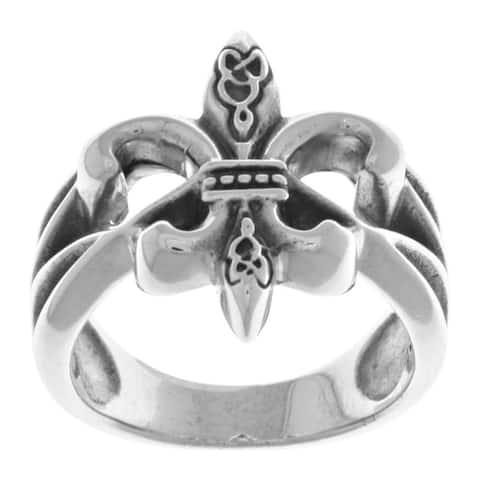 Sterling Silver Celtic Fleur de Lis Band Ring
