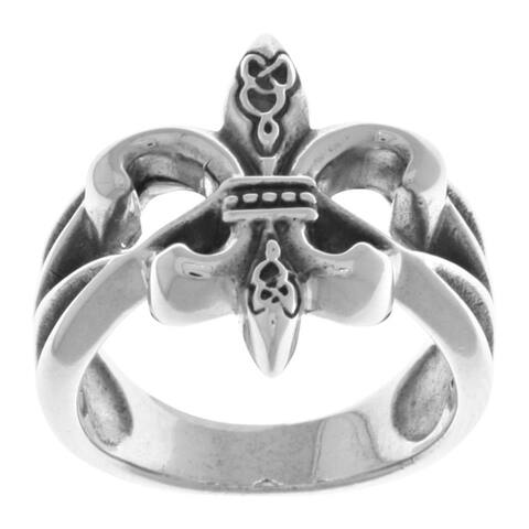 Sterling Silver Celtic Fleur de Lis Band Ring