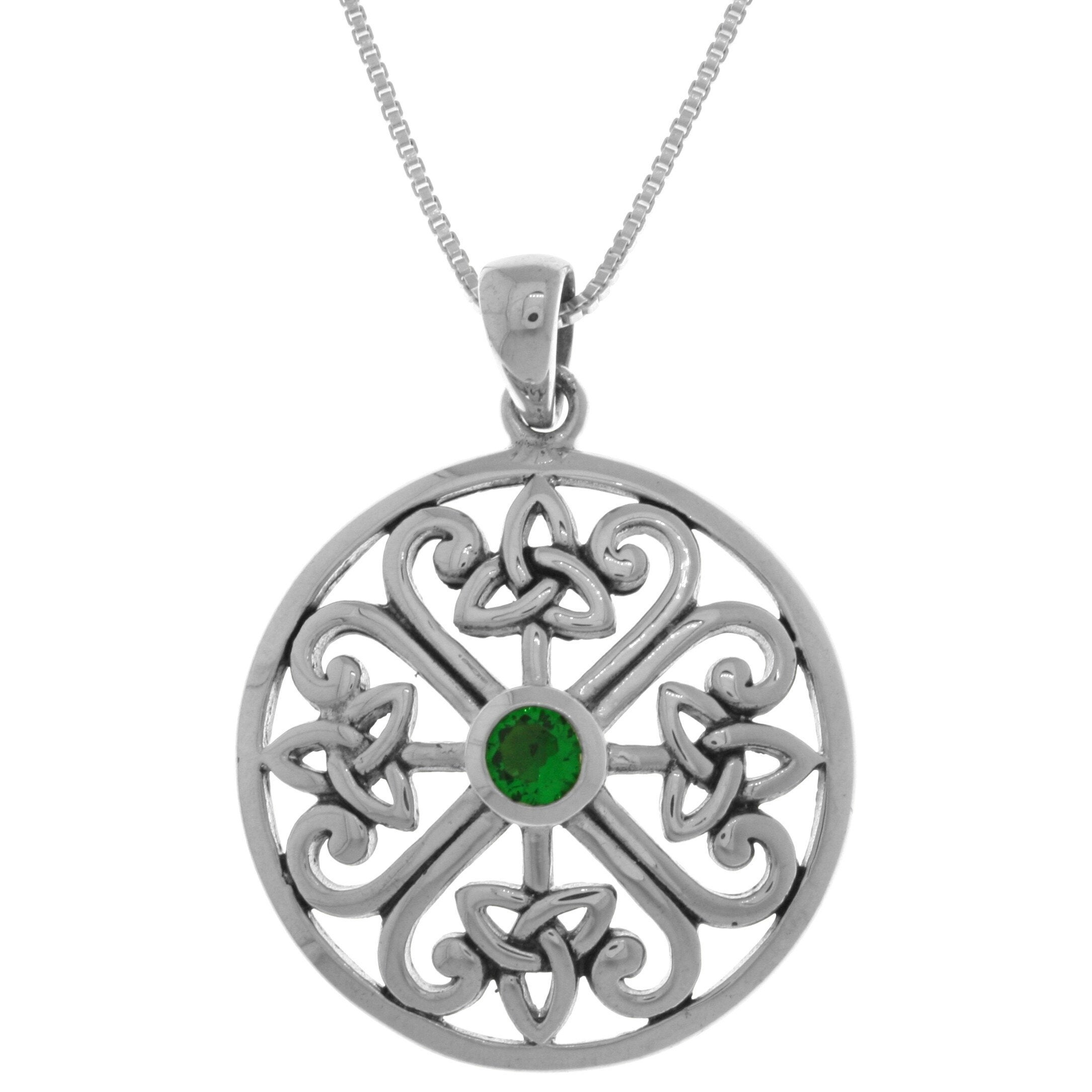 Celtic Trinity Knot Triquetra Pendant .925 Sterling Silver Black Open Charm