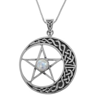 Sterling Silver Rainbow Moonstone Celtic Moon and Star Pentacle 18-inch Necklace