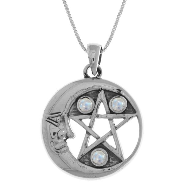 Sterling Silver Moonstone Moon and Star Pentacle 18-inch Necklace