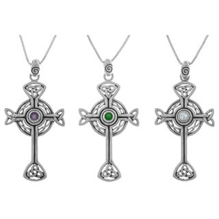 Carolina Glamour Collection Sterling Silver Gemstone Celtic Trinity Circle of Life Cross 18-inch Necklace