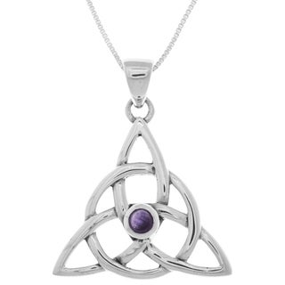 Carolina Glamour Collection Sterling Silver Amethyst Celtic Triquetra 18-inch Necklace
