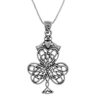 Carolina Glamour Collection Sterling Silver Celtic Knotwork Shamrock Irish Claddagh 18-inch Necklace