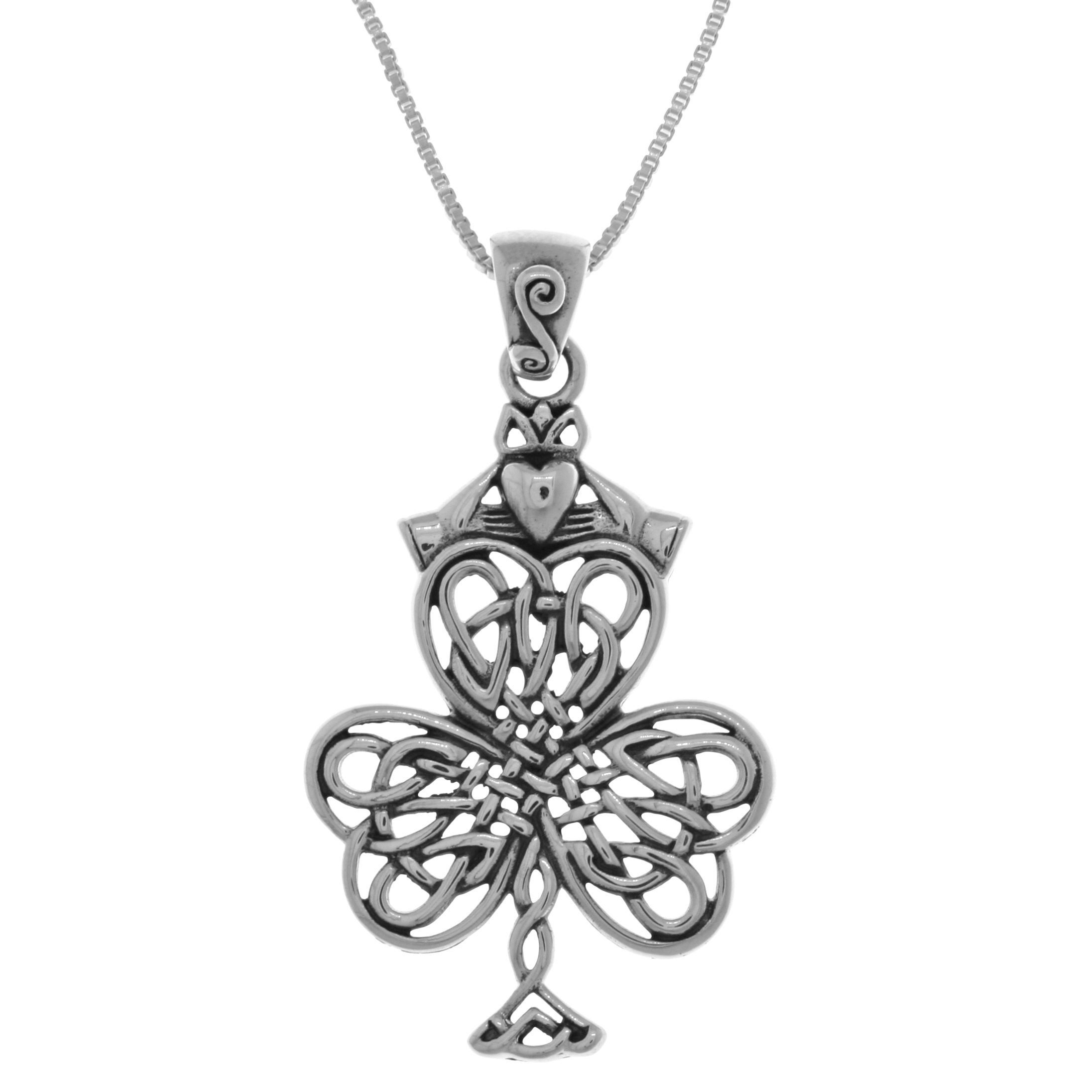 Small Sterling Silver Celtic Shamrock Clover with Claddagh Pendant Jewelry
