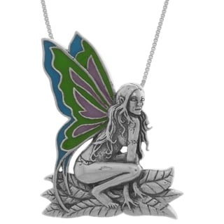 Carolina Glamour Collection Sterling Silver Enameled Butterfly Wing Rain Fairy 18-inch Necklace
