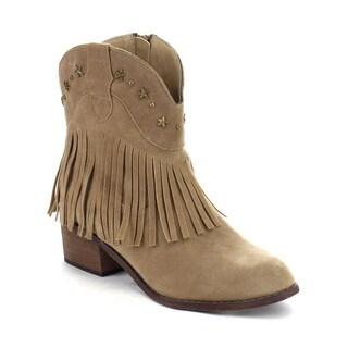 Beston DA42 Women's Low Heel Western Style Cowboy Fringe Ankle Booties