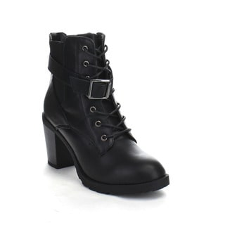 Beston DA21 Women's Stacked Heel Buckle Accents Lace Up Combat Ankle Booties