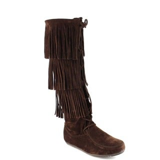 FOREVER FEW2 Women's Stylish Three Layers Fringe Knee High Moccasin Boots