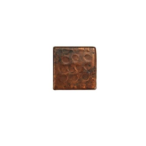 """Handmade Hammered Copper Tile, Set of 8 - 2"""" x 2"""" (Mexico)"""