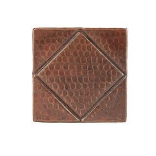 Premier Copper Products 4-inch x 4-inch Hammered Copper Tile with Diamond Design (Set of 4)