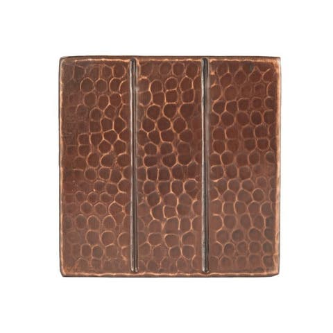 Premier Copper Products 4-inch x 4-inch Hammered Copper with Linear Tile Design (Set of 4)