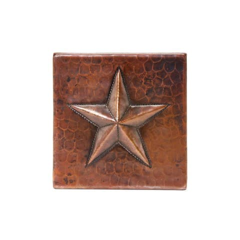 """Handmade Hammered Copper Tile, Set of 4 - 4"""" x 4"""" (Mexico)"""
