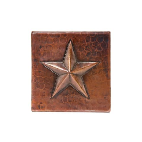 """Handmade Hammered Copper Tile, Set of 8 - 4"""" x 4"""" (Mexico)"""