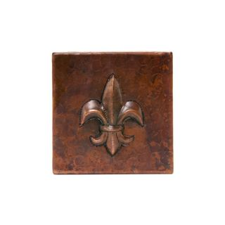Premier Copper Products 4-inch x 4-inch Hammered Copper Fleur De Lis Tile (Set of 8)