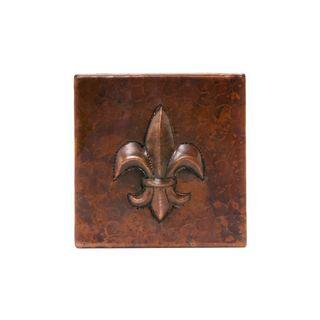 Premier Copper Products 4-inch x 4-inch Hammered Copper Fleur De Lis Tile (Set of 8)