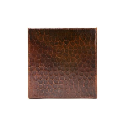 """Handmade Hammered Copper Tile, Set of 8 - 6"""" x 6"""" (Mexico)"""