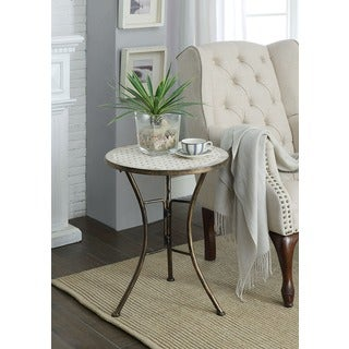Round Travertine Accent Table