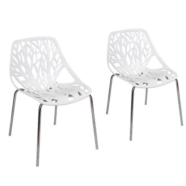 Adeco Cut Out Tree Design Plastic Dining Chairs With