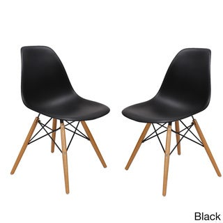 Plastic Dining Chair with Wooden Legs (Set of 2) (Black - Side Chairs)