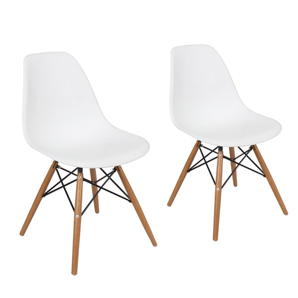 adeco plastic dining chair with wooden legs set of two free