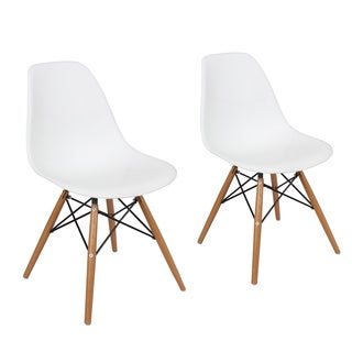 Plastic Dining Chair with Wooden Legs (Set of 2)