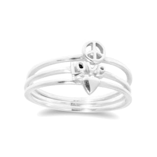 Handmade Heart Love Peace Triple Stackable Band Sterling Silver Ring (Thailand)