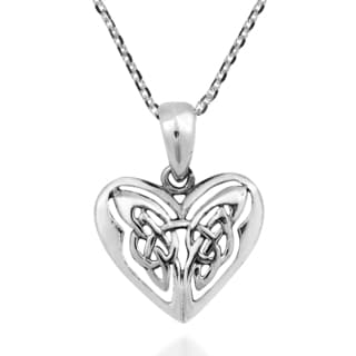 Handmade Endless Love Celtic Knot Heart Sterling Silver Necklace (Thailand)