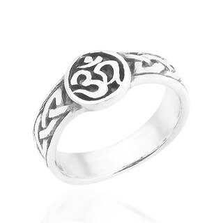 Handmade Peace Symbol Aum or Ohm .925 Sterling Silver Band Ring (Thailand)