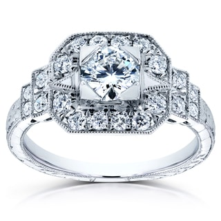 Annello by Kobelli 14k White Gold 7/8 TDW Diamond Milgrain Fancy Antique Engagement Ring