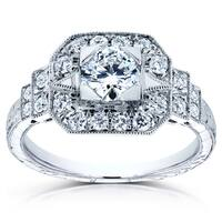 Annello by Kobelli 14k White Gold 7/8 TDW Diamond Milgrain Fancy Antique Engagement Ring