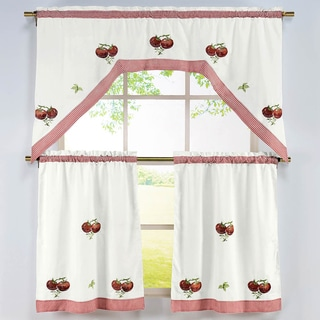 Tomato Pattern 3-piece Embroidered Kitchen Curtain Set
