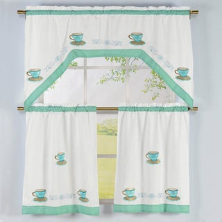 Tea Time Pattern Embroidered Swag Valance and Tiers Kitchen Curtain (3-piece Set)