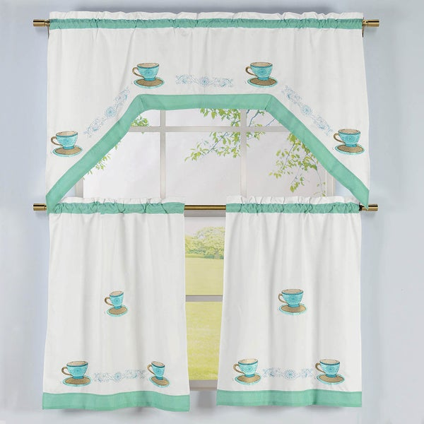 Shop Tea Time Pattern Embroidered Swag Valance And Tiers