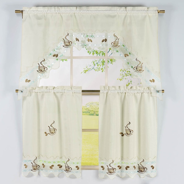Shop Coffee Pattern 3-piece Embroidered Kitchen Curtain