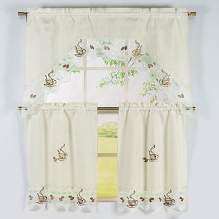 Coffee Pattern 3-piece Embroidered Kitchen Curtain Set