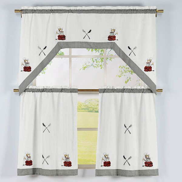 Cooking Chef Pattern 3-piece Embroidered Swag Valance And