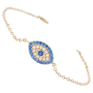 NEXTE Jewelry Blue and White Cubic Zirconia Guardian Eye Chain Bracelet