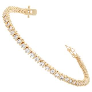 NEXTE Jewelry Goldplated White Round Cubic Zirconia Cleft Designed Tennis Bracelet