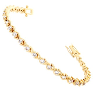 Nexte Jewelry Goldtone or Slivertone Cubic Zirconia V Set Tennis Bracelet