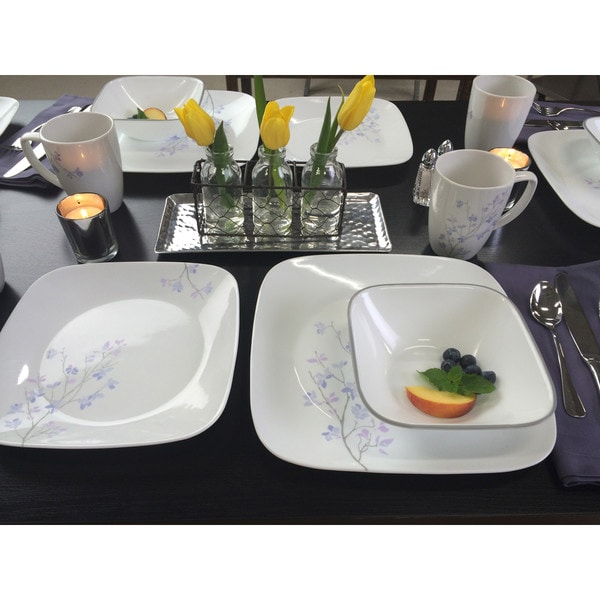 Corelle Square Jacaranda 16-Piece Dinnerware Set  sc 1 st  Overstock & Corelle Square Jacaranda 16-Piece Dinnerware Set - Free Shipping ...