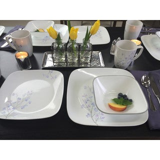 Corelle Square Jacaranda 16-Piece Dinnerware Set
