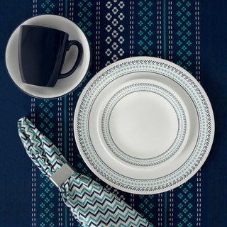 Corelle Livingware Folk Stitch Dinnerware 16-Piece Set