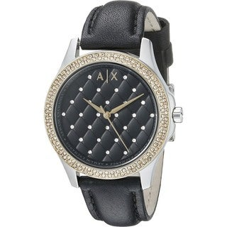 Armani Exchange Women's AX5246 'Lady Hampton' Crystal Black Leather Watch