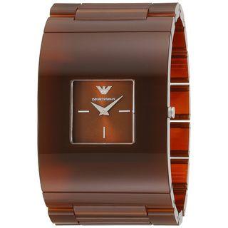 Emporio Armani Women's AR7397 'Donna Catwalk' Brown Plastic Watch