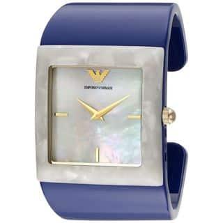 Emporio Armani Women's AR7396 'Donna Catwalk' Blue Plastic Watch https://ak1.ostkcdn.com/images/products/10701370/P17762130.jpg?impolicy=medium