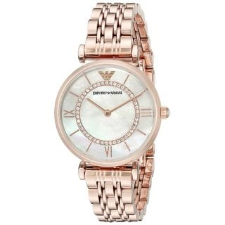 Emporio Armani Women's AR1909 'Classic' Crystal Rose-Tone Stainless Steel Watch