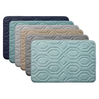 Embossed Diamond Pattern Premium Micro Plush Memory Foam Bath Rug
