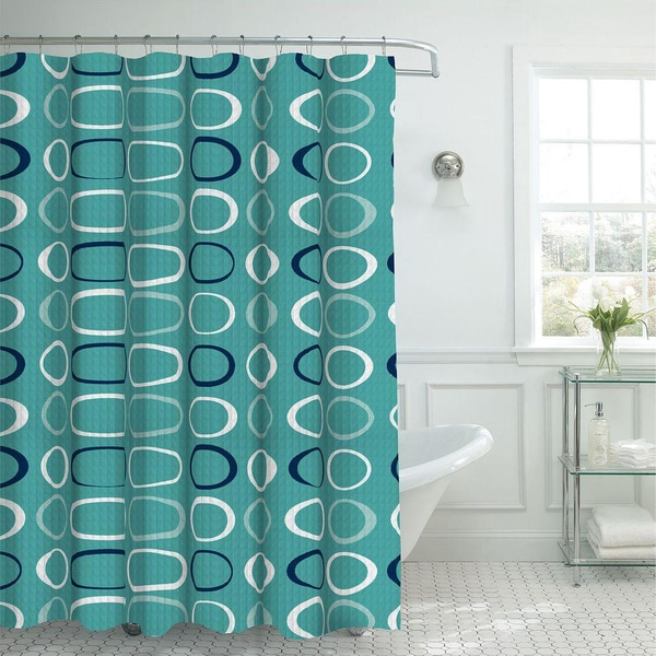 Oxford Weave Textured Shower Curtain with Metal Roller Hooks in Light Blue