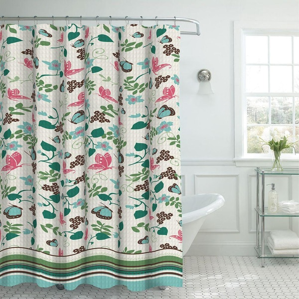 Oxford Weave Textured Butterfly Pattern Shower Curtain with Metal Roller Hooks in Aqua